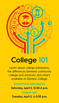 College 101: learn about college admissions, the differences between community college and university and what's available at Olympic College.